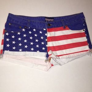 Tipsy Elves red white blue patriotic jean shorts L